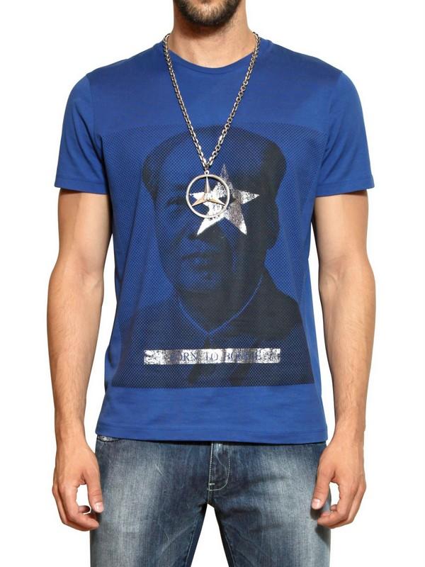 John richmond cotton jersey mao tse tung print tshirt in for Richmond t shirt printing