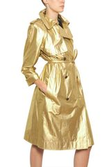 Lanvin Washed Laminated Cotton Canvas Trench in Gold - Lyst