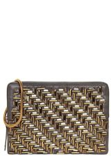 Lanvin Embroidered Satin Zipped Clutch