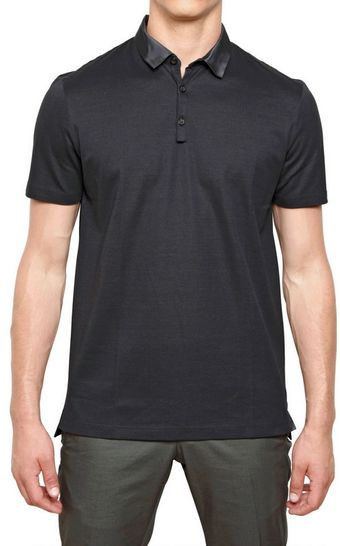 Lanvin Shiny Grosgrain Collar Cotton Polo - Lyst