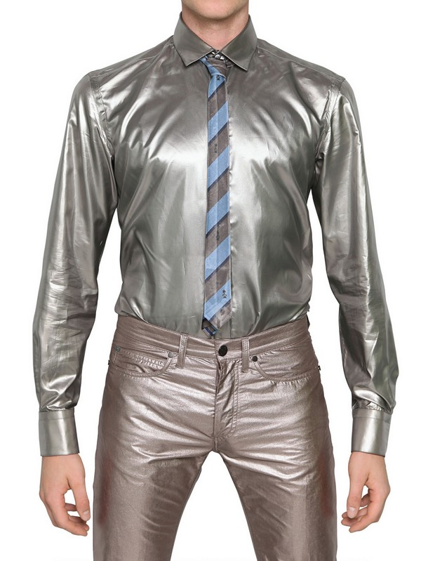 Lyst Lanvin Fluid Metallic Nylon Shirt In Metallic For Men