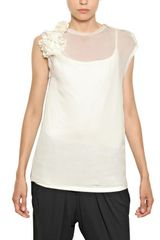 Lanvin Techno Muslin On Bamboo Jersey Top - Lyst