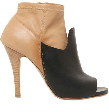 Maison Margiela 100mm Two Tone Leather Open Toe Boots in Black (camel)