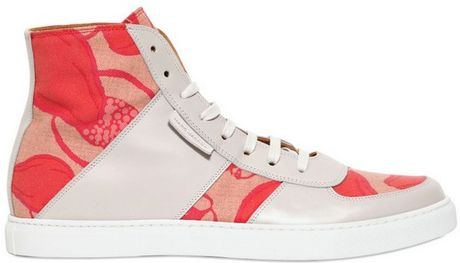 Marc Jacobs Leather Printed Canvas Sneakers in Red for Men (grey/red) - Lyst