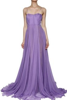 Maria Lucia Hohan Silk Muslin Front Drape Long Dress - Lyst