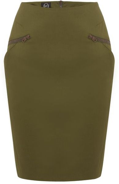 Mcq By Alexander Mcqueen Military Angled Pocket Skirt in Green - Lyst