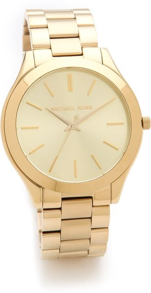 Michael Kors Slim Runway Watch in Gold - Lyst