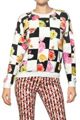 MSGM Flower Checked Cotton Fleece Sweatshirt - Lyst