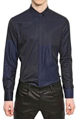 Neil Barrett Two Tone Shirting Cotton Slim Fit Shirt - Lyst