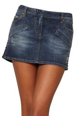 Pierre Balmain Faux Leather Trim Denim Mini Skirt - Lyst