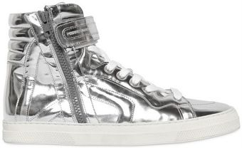 Pierre Hardy Metallic Leather High Top Sneakers - Lyst