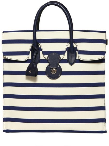 Ralph Lauren Rickie Striped Canvas and Leather Tote in White