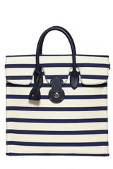 Ralph Lauren Rickie Striped Canvas and Leather Tote in White (white/navy) - Lyst