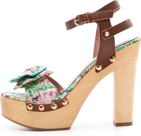 Red Valentino Floral Wooden Heel Sandals In Floral Green