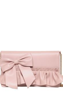 RED Valentino Bow and Ruffles Faux Leather Clutch - Lyst