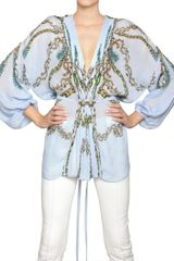 Roberto Cavalli Jewelled Printed Silk Chiffon Shirt - Lyst