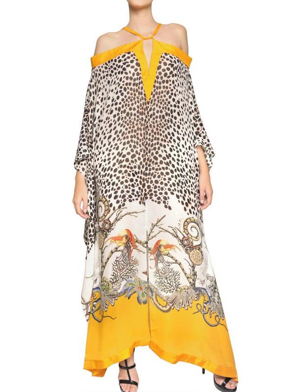 Roberto Cavalli Printed Silk Georgette Long Kaftan Dress