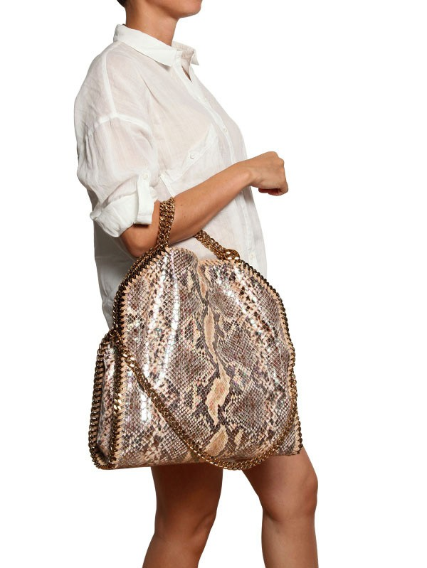 9264ed973776 Lyst - Stella McCartney Three Chain Faux Python Falabella Bag in Natural