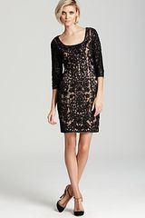 Sue Wong Lace Dress Three Quarter Sleeve Scoop Neck - Lyst