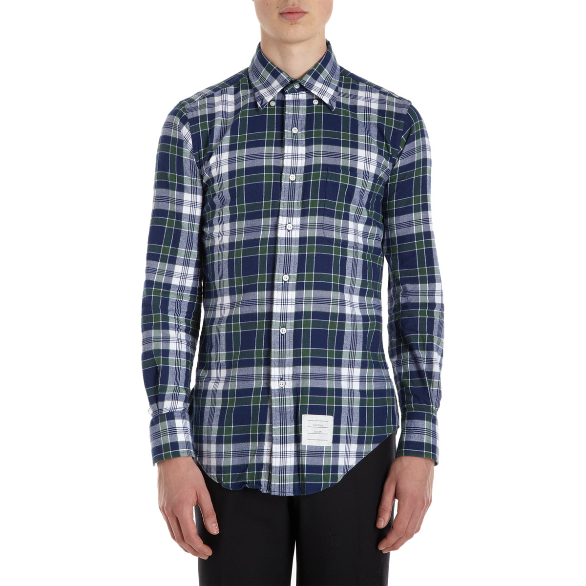 Thom browne plaid flannel shirt in blue for men navy lyst for Navy blue plaid shirt