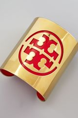 Tory Burch Leather Stencil Logo Cuff  - Lyst