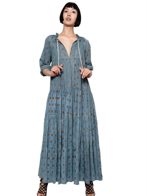 Yvonne s Drawstring Organic Cotton Long Dress in Blue - Lyst