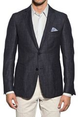 Z Zegna Denim Effect Wool Linen Jacket - Lyst