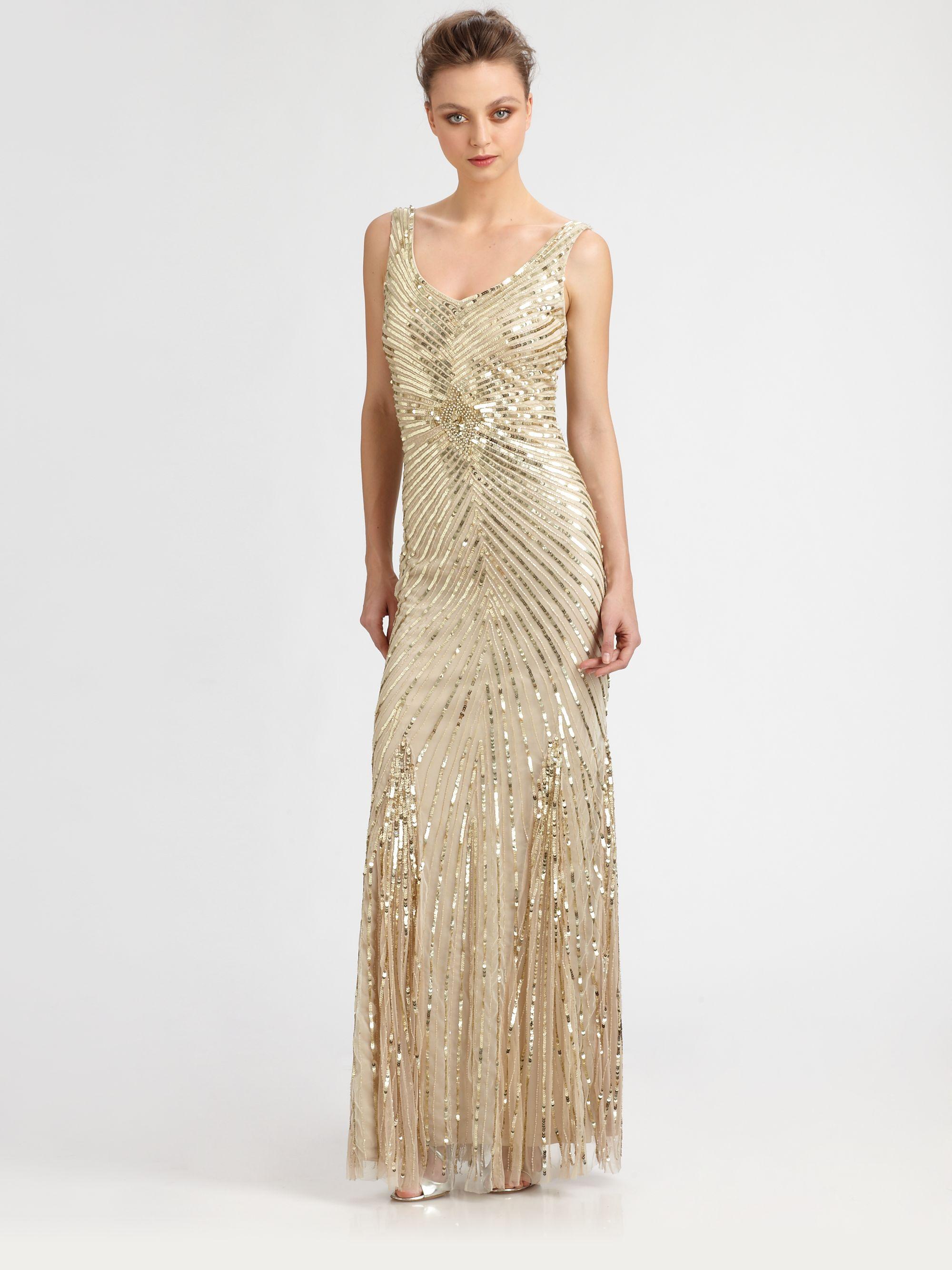 Lyst - Aidan Mattox Sequined Starburst Gown in Metallic