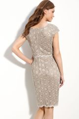 Alex Evenings Sequin Lace Overlay Sheath Dress Petite in Gray (end of color list champagne) - Lyst