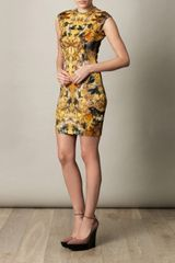 Alexander Mcqueen Hummingbirdprint Dress in Yellow (multicoloured) - Lyst