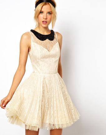 ASOS Collection Asos Lace Skater Dress with Pleated Skirt - Lyst