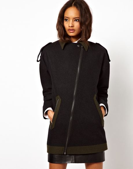 Asos Collection  Coat with Contrast Details in Black (grey)