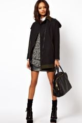 Asos Collection  Coat with Contrast Details in Black (grey) - Lyst