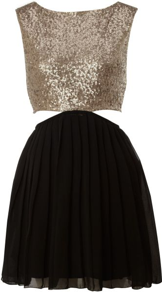 Ax Paris Chiffon Skirt Sequin Dress - Lyst