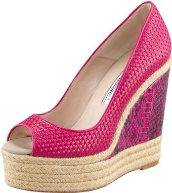 Brian Atwood Cailey Leather Espadrille Snakewedge Pump - Lyst