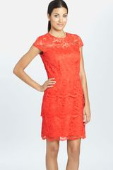 Cynthia Steffe Martine Illusion Yoke Tiered Lace Dress - Lyst