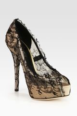 Dolce & Gabbana Lacecovered Satin Platform Pumps