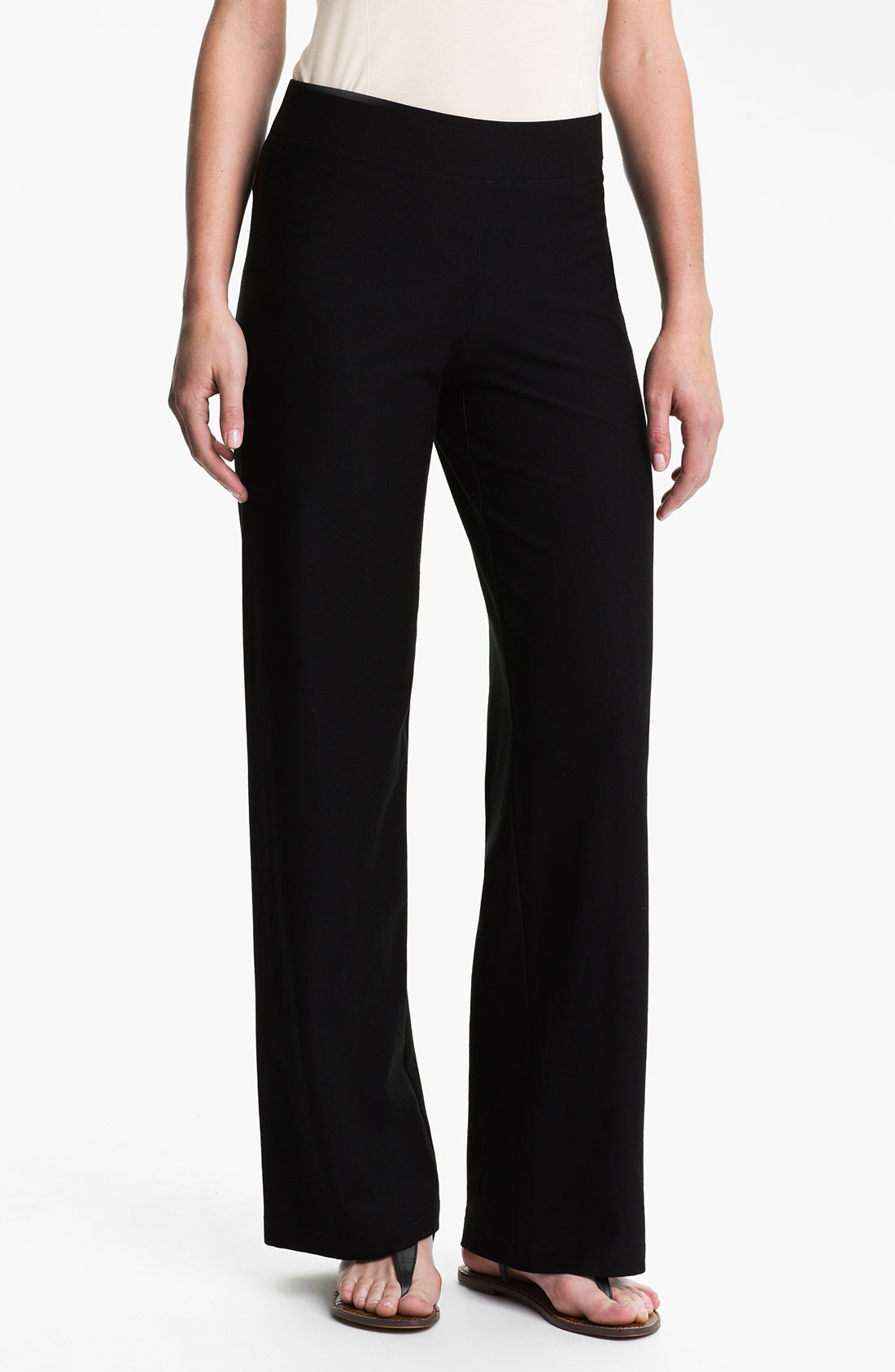 Eileen Fisher Wide Leg Knit Pants in Black | Lyst