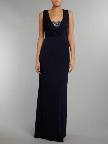 eliza j maxi dress beaded bodice in blue navy lyst