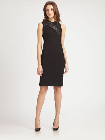 Halston Heritage Leather Trim Sheath Dress - Lyst
