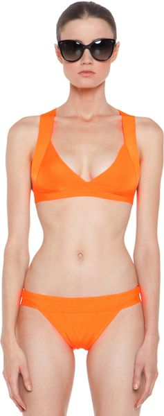 herv l ger v neck bikini in neon orange in orange neon orange lyst. Black Bedroom Furniture Sets. Home Design Ideas