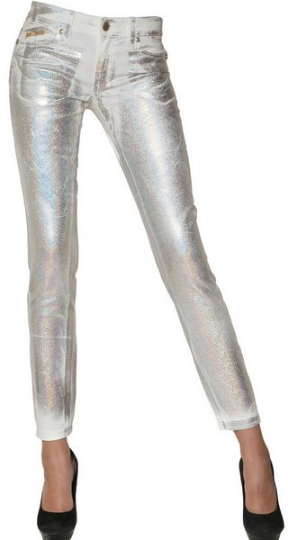 Just Cavalli Silver Print Stretch Cotton Denim Jeans - Lyst