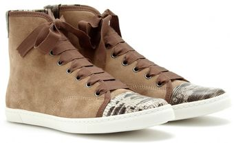Lanvin Suede Hightop Sneakers with Snake Print - Lyst