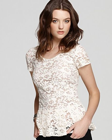 Madison Marcus Top Lace Peplum in White (ivory) - Lyst