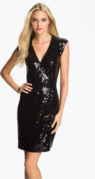 Michael by Michael Kors Sequin Wrap Dress Petite - Lyst