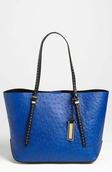 Michael Kors Gia Small Ostrich Embossed Leather Tote in Blue (sapphire)