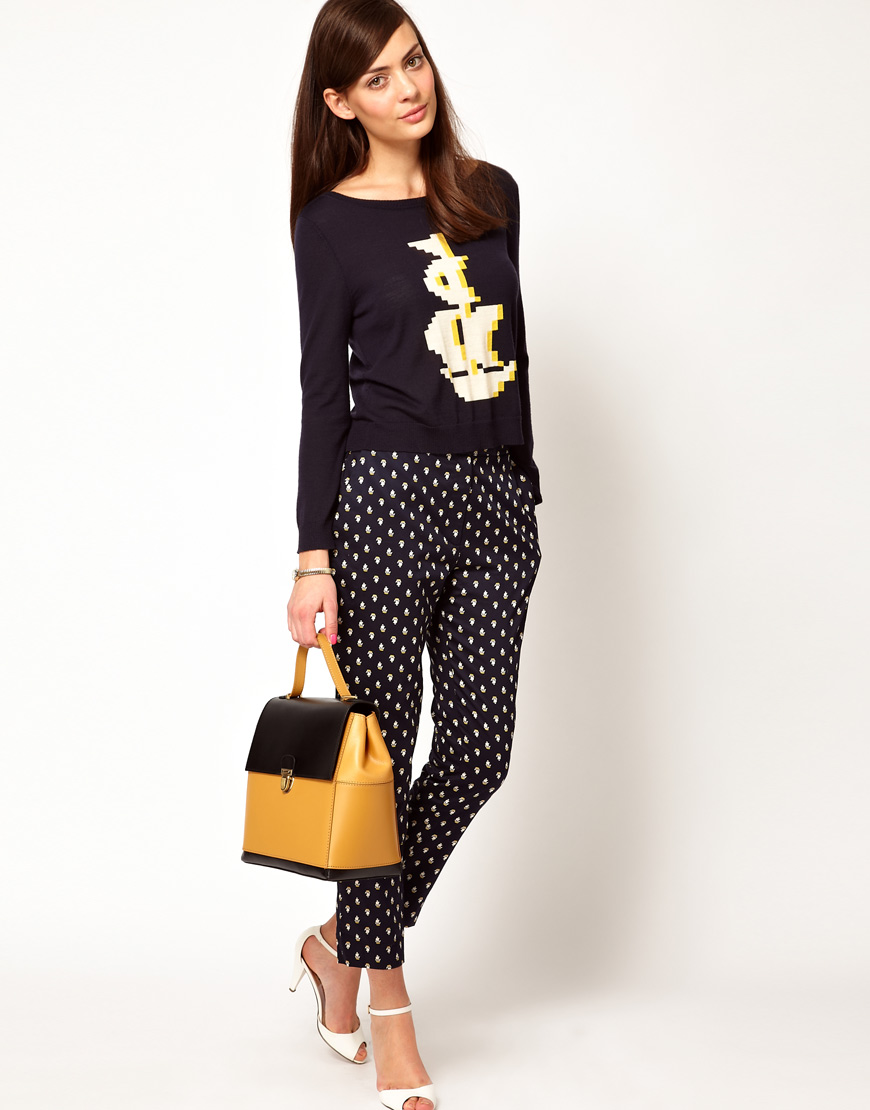 Lyst - Orla Kiely Button Back Sweater in Pixelated Galleon Design in ... ed1fc2650