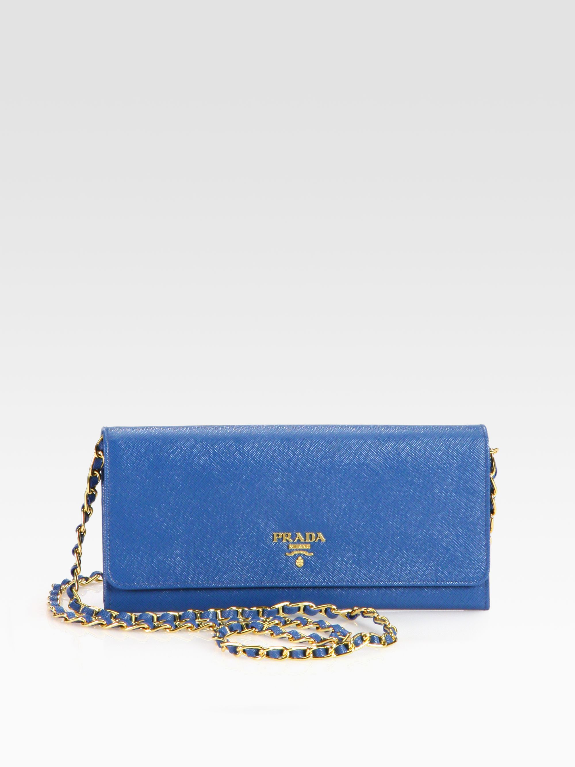 5d75d388a4b8 Prada Saffiano Metal Oro Wallet with Chain in Blue - Lyst