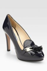 Prada Patent Leather Kiltie Tassel Pumps - Lyst