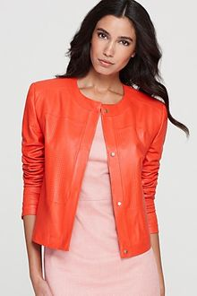 Rachel Roy Perforated Cropped Lamb Leather Jacket - Lyst